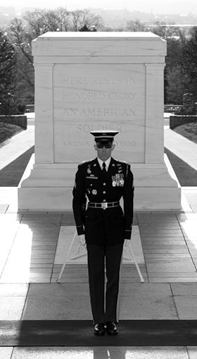 Guard standing duty at Tomb of the Unknown Soldier