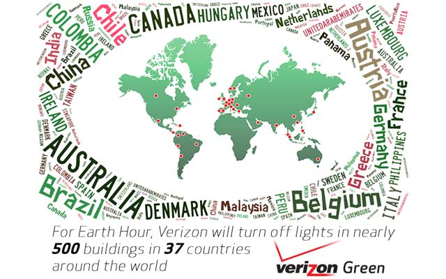Map of Verizon facilities going dark for Earth Hour 2015