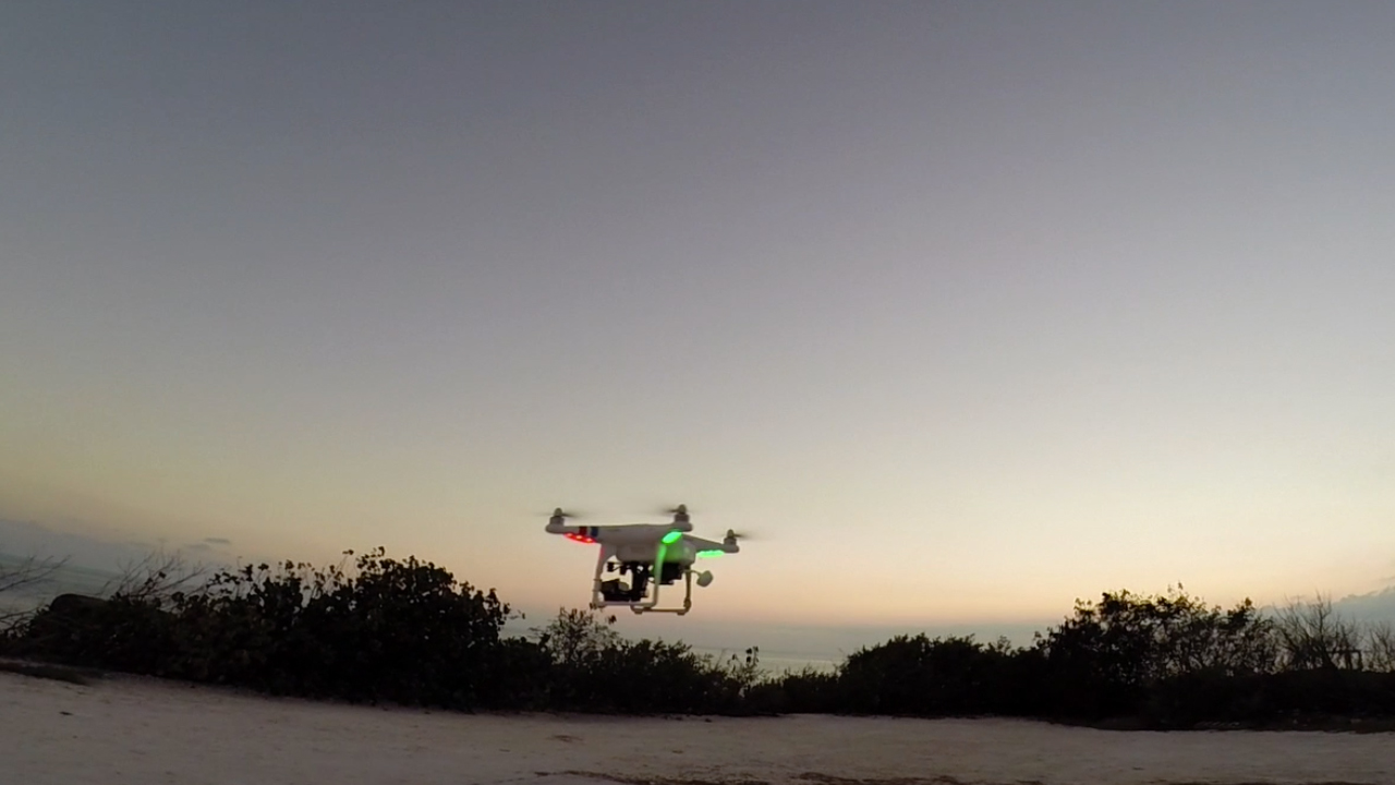 Drone video flying in the air
