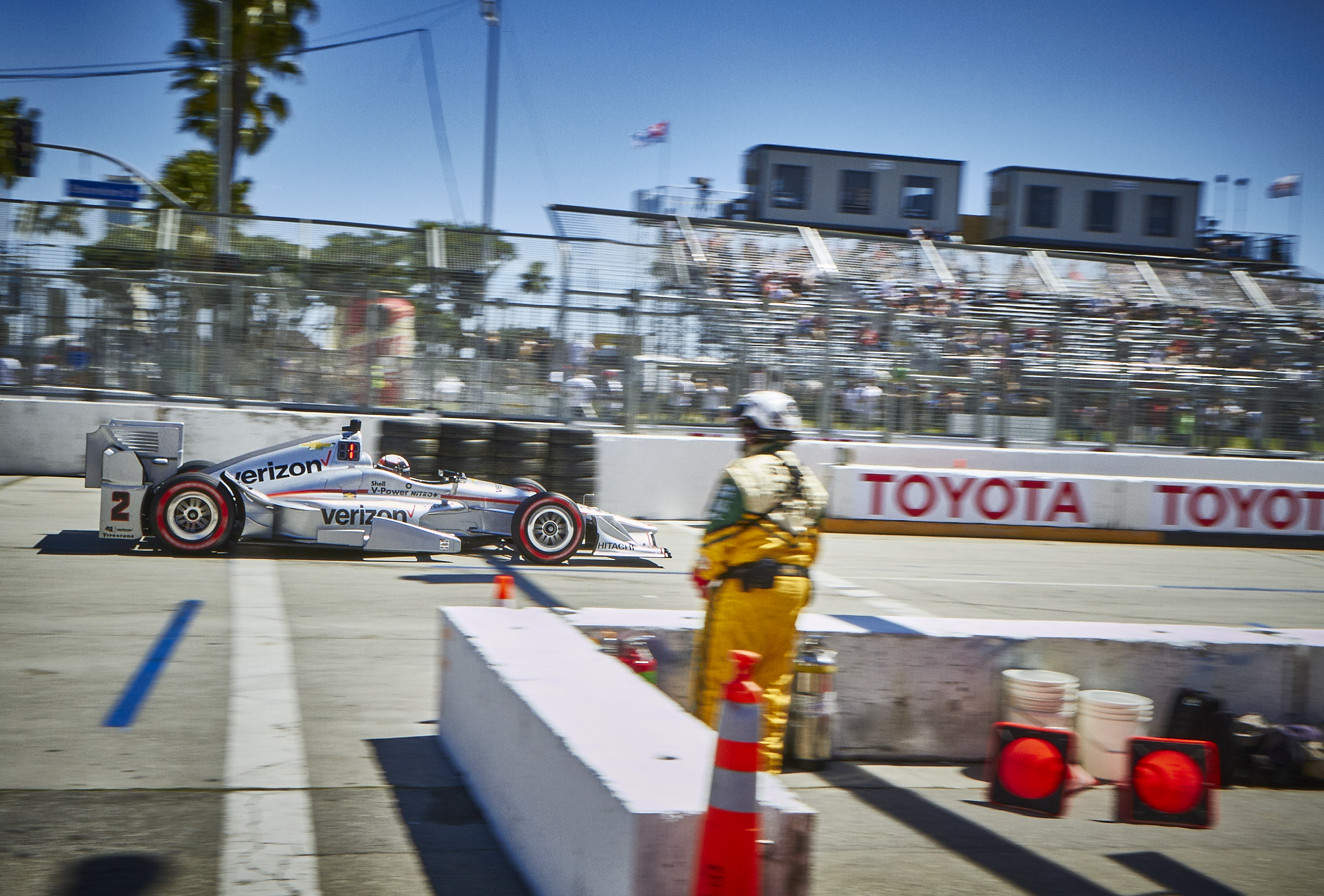 "No. 2 Team Penske Verizon/Hawk/PPG Dallara/Chevrolet driven by Juan Pablo Montoya enters pit lane at The Long Beach Grand Prix"" photo credit: Paul Biedrzycki"