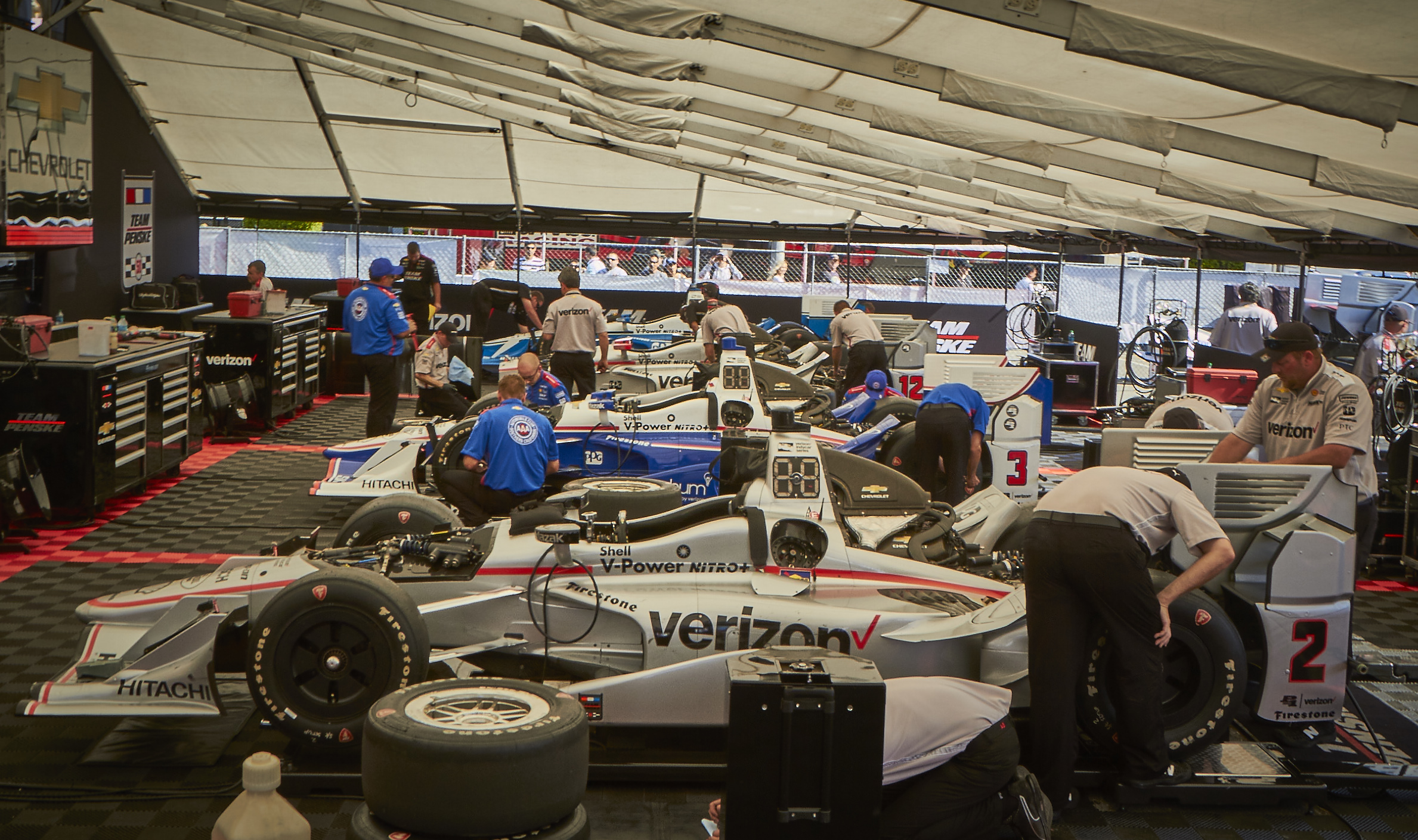 "Team Penske engineers and mechanics prepare the cars for The Long Beach Grand Prix"" photo credit: Paul Biedrzycki"
