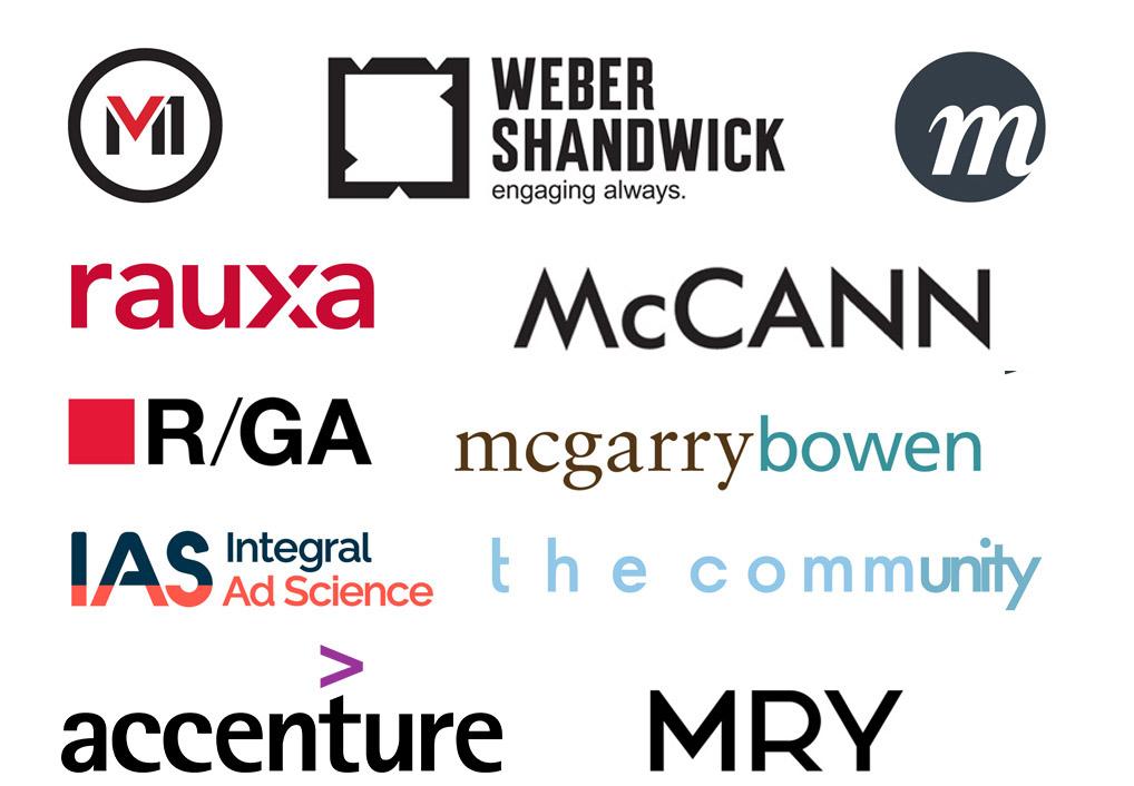 Logos of partners - R/GA, Weber Shandwick, McCann, Rauxa, Mcgarrybowen, IAS, the community, Accenture and MRY