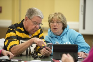 Larry Voith and Barb Lyons at Verizon's hands-on Britton Falls summer workshop