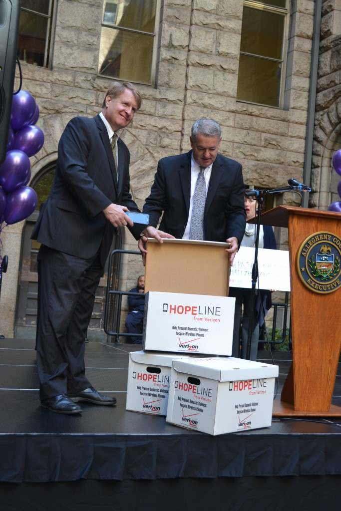 Allegheny County Executive Rich Fitzgerald donated the inaugural phone to kick off the phone drive on Oct. 6.