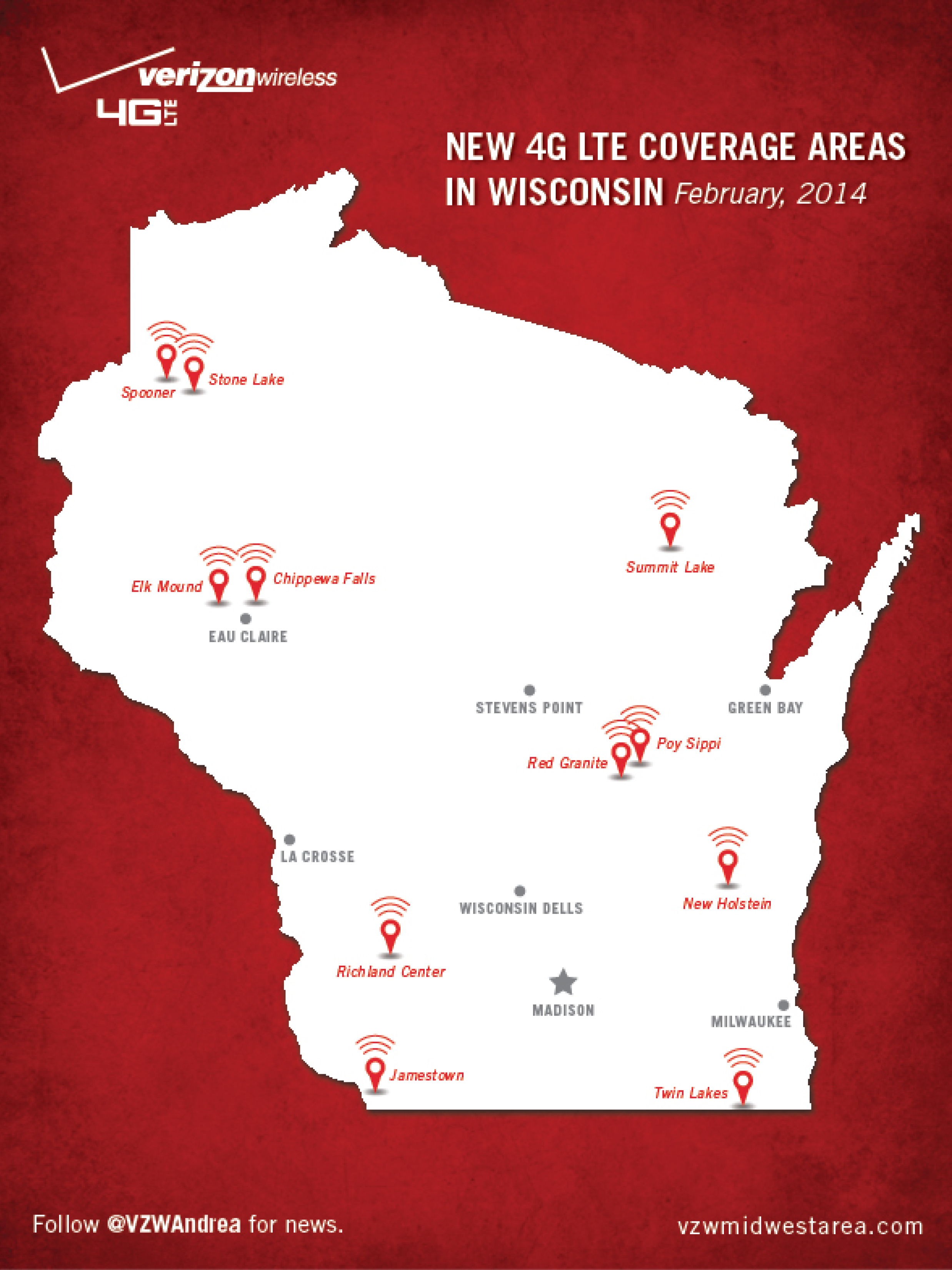 Expanded G LTE Network Coverage Throughout Wisconsin About Verizon - Verizon coverage map wisconsin