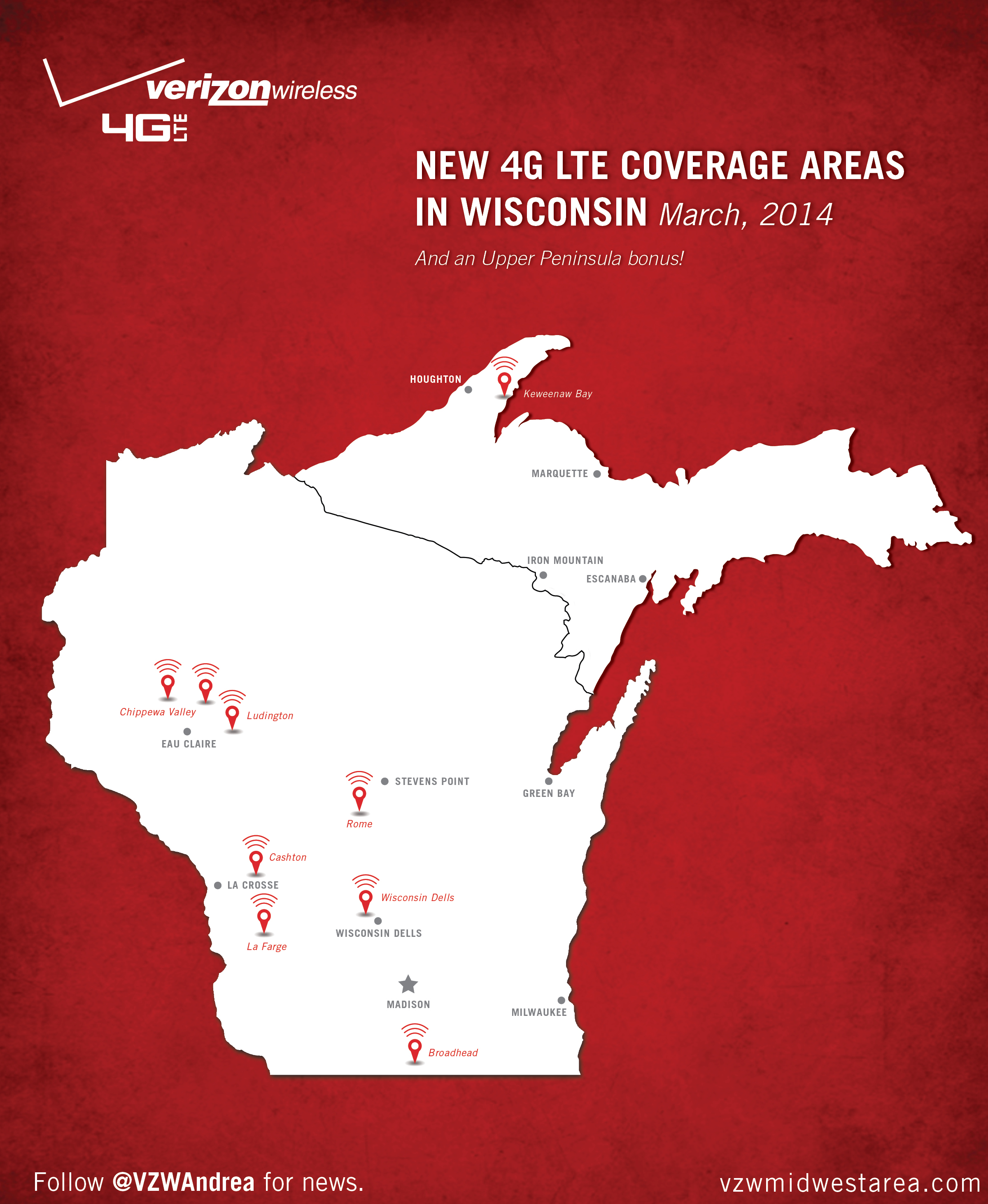 Expanded Verizon G LTE Network In Wisconsin And Upper Peninsula - Verizon coverage map wisconsin