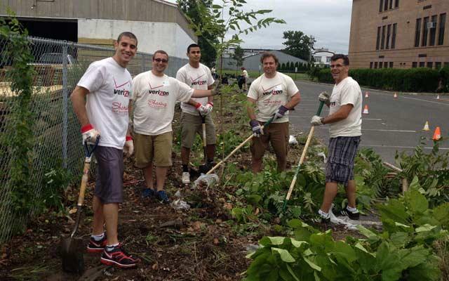Verizon Interns During Volunteering in Belmar After Superstorm Sandy