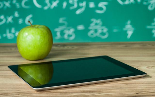 Tablet on a classroom desk