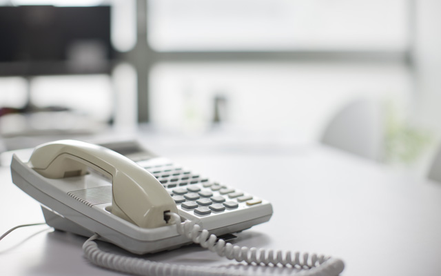 Telephone on desk