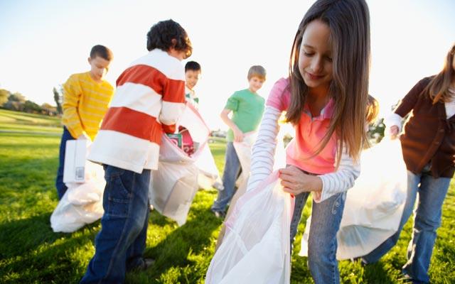 Kids picking up trash