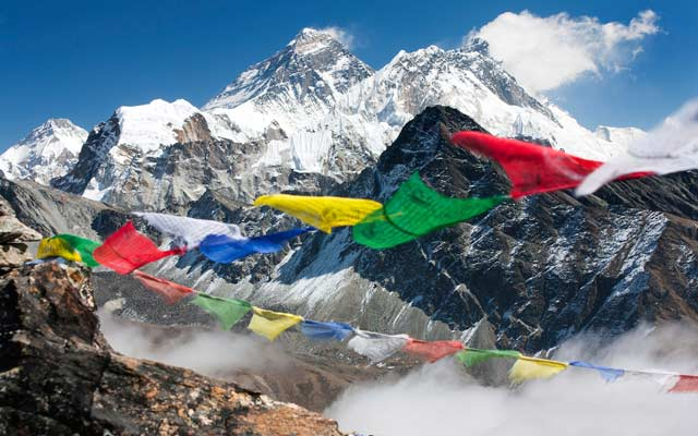 Nepalese prayer flags with Mt. Everest in the background