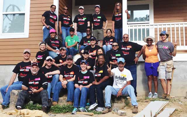 Verizon employees volunteering for Habitat for Humanity of Durham