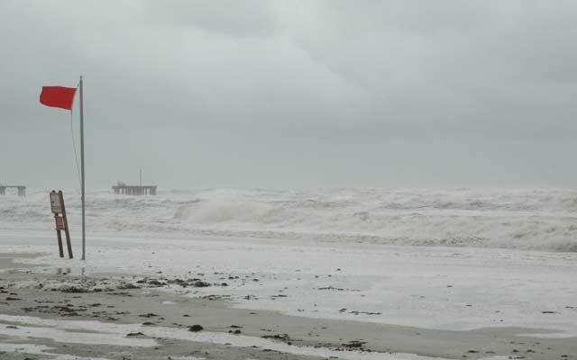 Beach view of a hurricane approaching