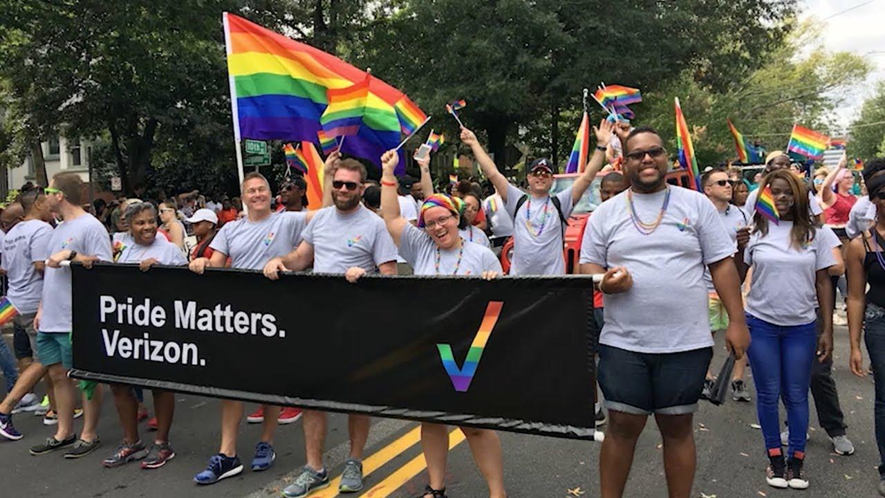 Verizon GLOBE ERG marching at Pride Parade
