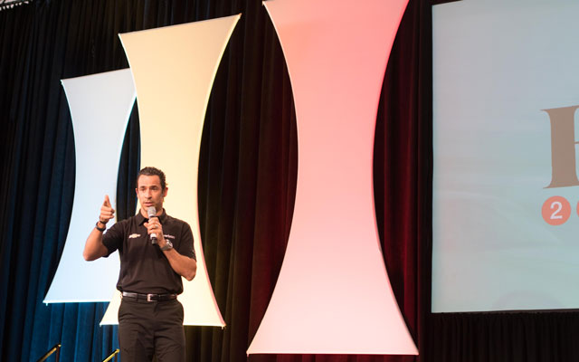 IndyCar Champion, Helio Castroneves, during Verizon's Main Stage Moment.