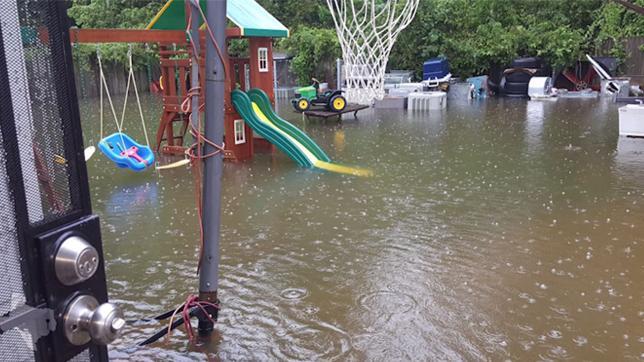 Hurricane Harvey flooded backyard
