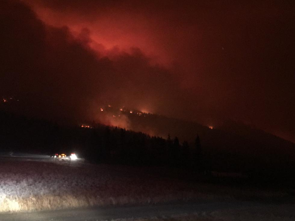 One of Bryan's pictures of a wildfire scorching the hills of Montana at night.