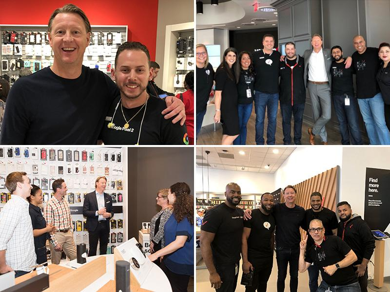 Photo collage of Hans Vestberg meeting with V Teamers
