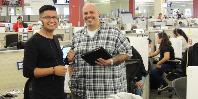 Employees enjoy a collaborative work environment.