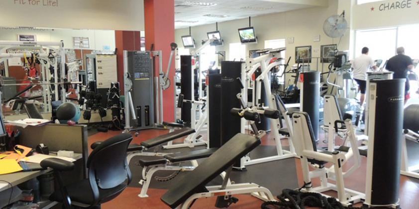 Our gym provides a place to workout and de-stress.