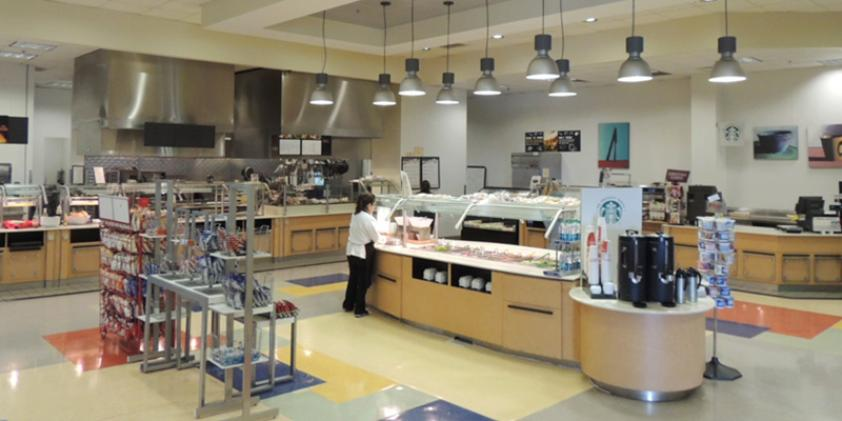 Pick up a meal or snack in our cafeteria.