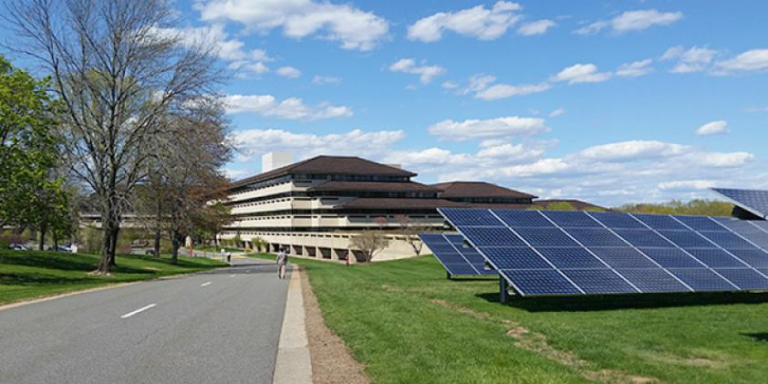 A view of the solar panels at our Basking Ridge operations headquarters