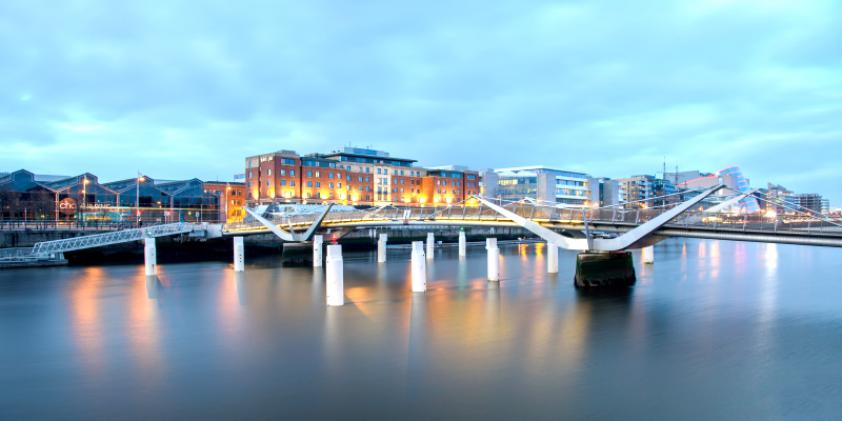 Dramatic bridge over the Liffey