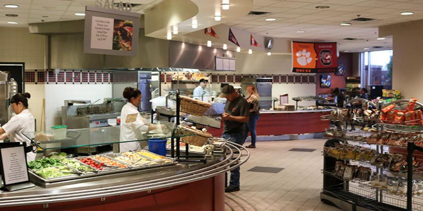 The cafeteria in our Greenville offices is a great place to grab a bite to eat.
