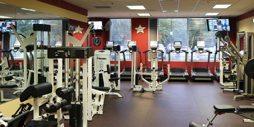 You can work out in our gym when you're not on the job.
