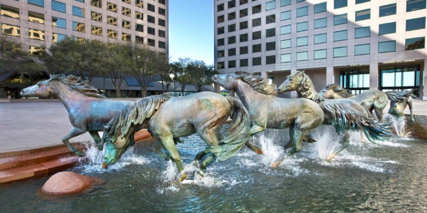 "The ""Mustangs of Las Colinas"" sculpture in downtown Irving"