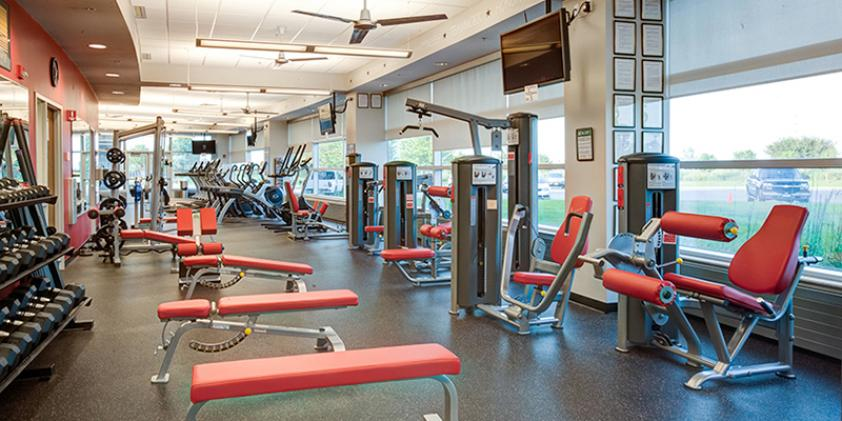 Our workout facilities provide a way to stay healthy when you're not working.