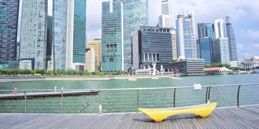 The Singapore embankment near downtown