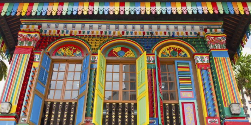 The Peranakan House with its bold colors