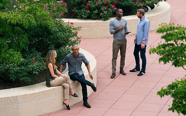 People in courtyard talking