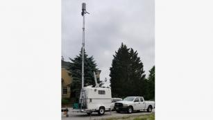 Satellite Picocell on a Trailer (SPOT) deployed in Old Ellicott City following 2018 historic flooding.