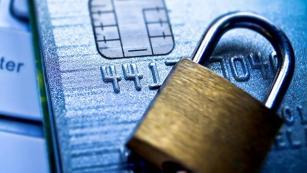 Padlock securing credit card