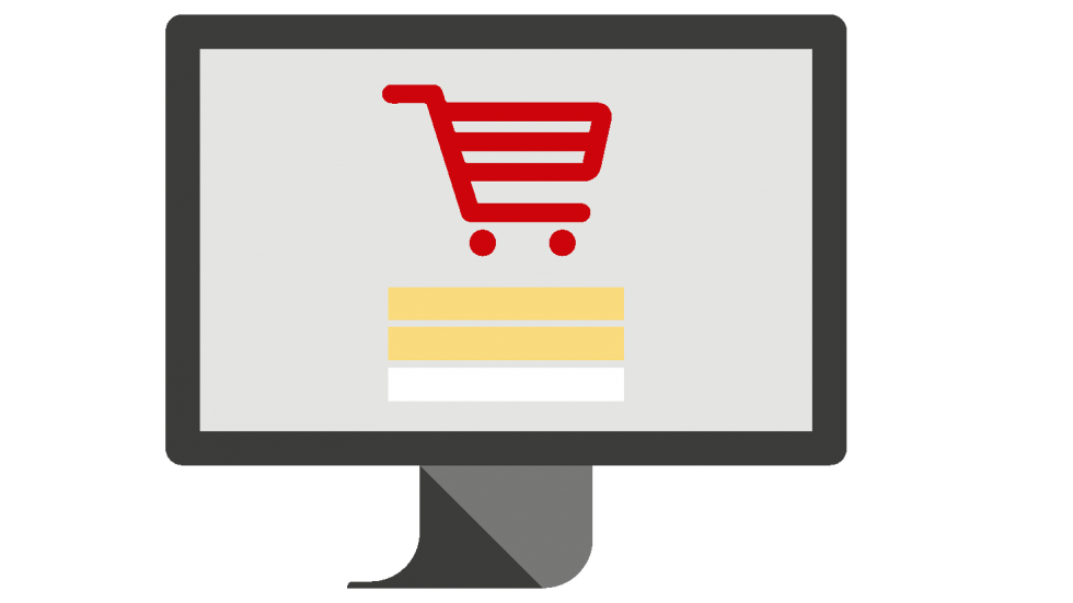 Shopping cart on computer screen