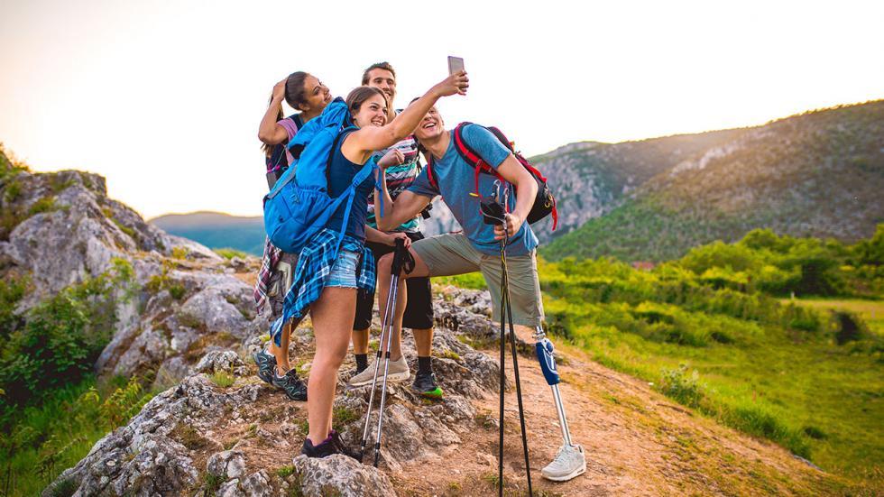 Friends take selfie on a hike