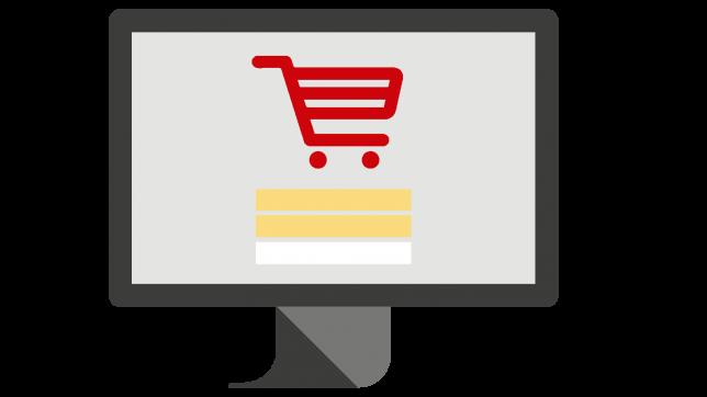 Shopping cart on computer screen