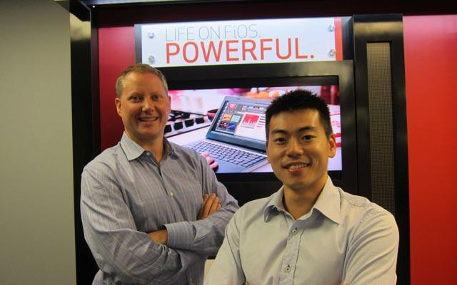 Alan Scott, program manager of on-site green energy, and Louis Li, Environmental Defense Fund Climate Corps fellow