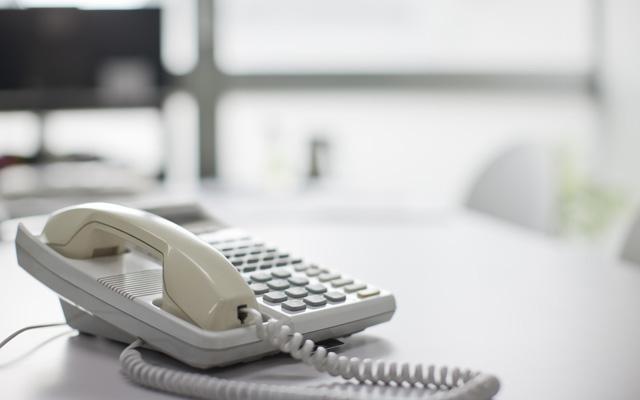 Telephone on desk