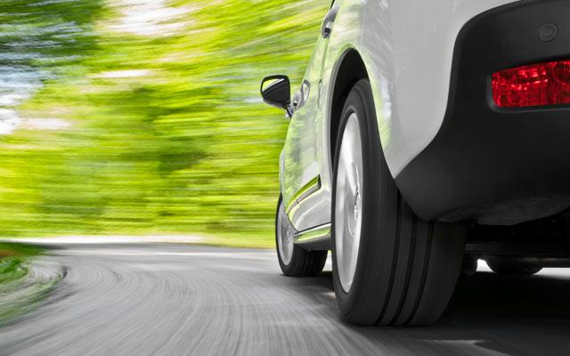 Car speeding down the road