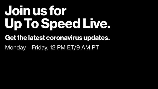 Join us for Up To Speed Live for the latest Coronavirus updates. Monday through Friday 12 PM ET - 9 AM PT