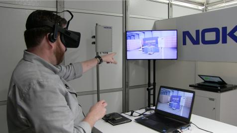 Image of Jeremy in a 5G test.