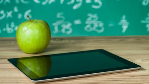 Tablet on a classroom desk
