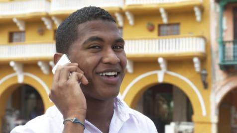 Cuban man on phone
