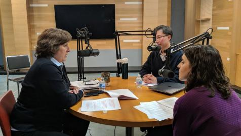 image of Nicki Palmer, Ed Chan and Katie Regner during the podcast recording
