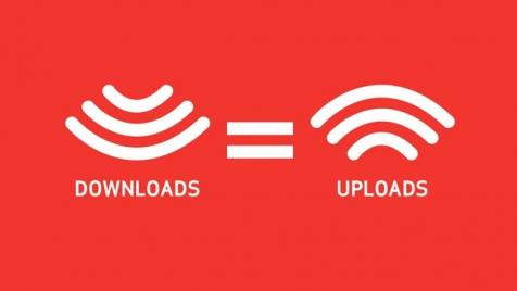 Graphic showing equal upload and download speeds