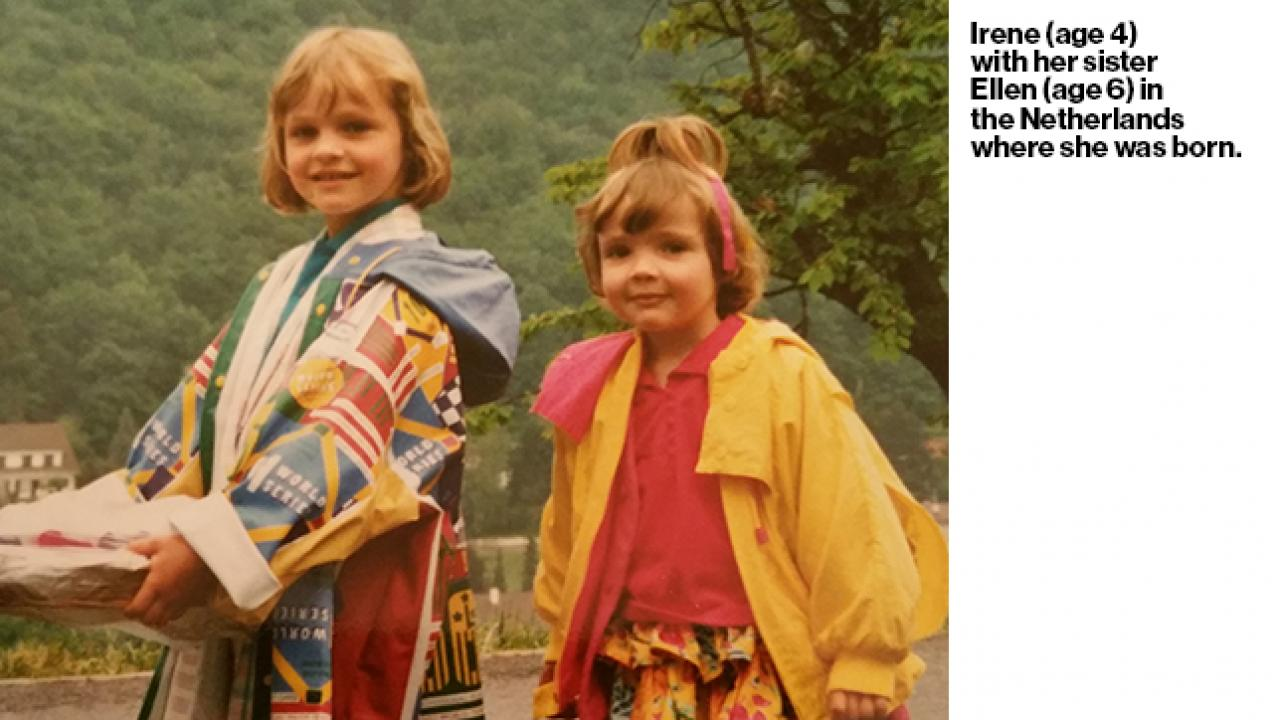 Image says Irene, age 4, with her sister Eileen in the Netherlands where she was born.
