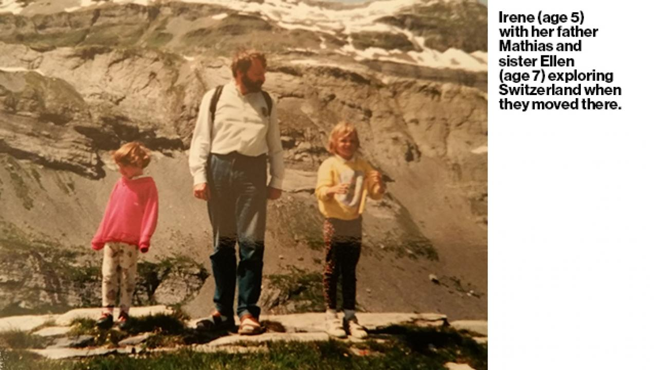 Image says Irene with her father Mathias and sister Ellen exploring Switzerland when they moved there.